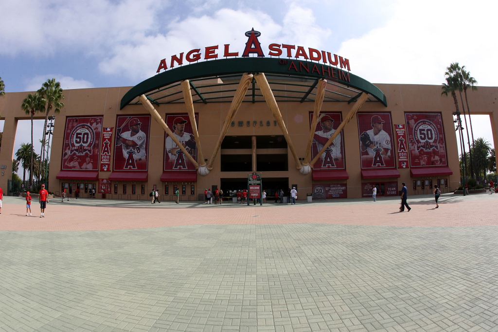 General view of the exterior main entrance of Angel Stadium of Anaheim prior to the game between the Baltimore Orioles and the Los Angeles Angels of Anaheim on August 21, 2011 in Anaheim, California.