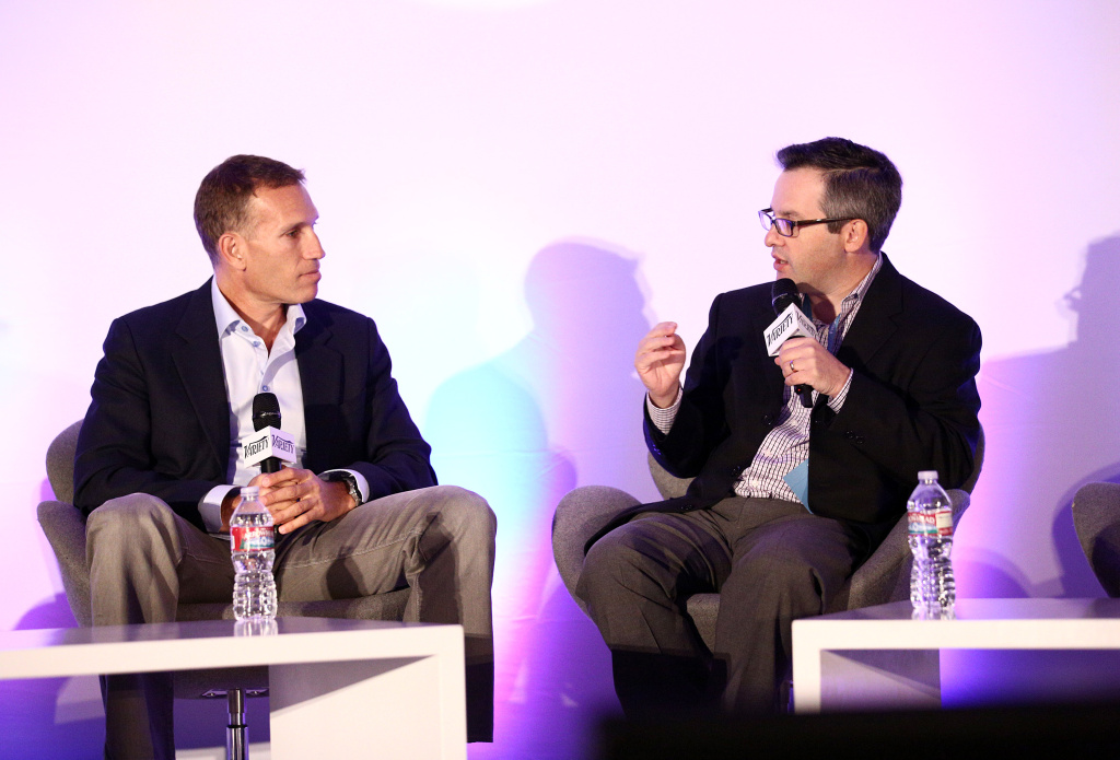 Executive Chairman of Maker Studios Ynon Kriez (L) and Moderator & Editor in Chief Digital Variety Andrew Wallenstein speak onstage during the Variety Entertainment and Technology Summit at Ritz Carlton Hotel on October 21, 2013 in Marina del Rey, California.