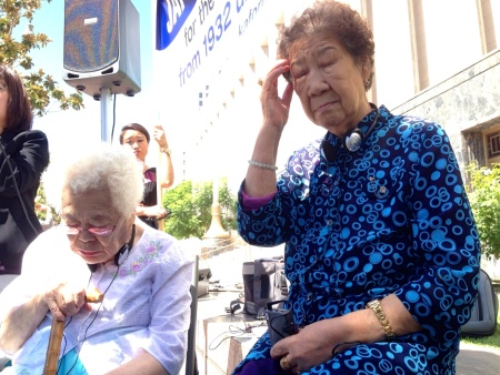 Ok-Seon Lee (l.) and Il-Chul Kang (r.) are touring the U.S. calling attention to the plight of former sex slaves during World War II known as 'comfort women.' Their first stop was in L.A. to file declarations of support for a monument to comfort women in Glendale.