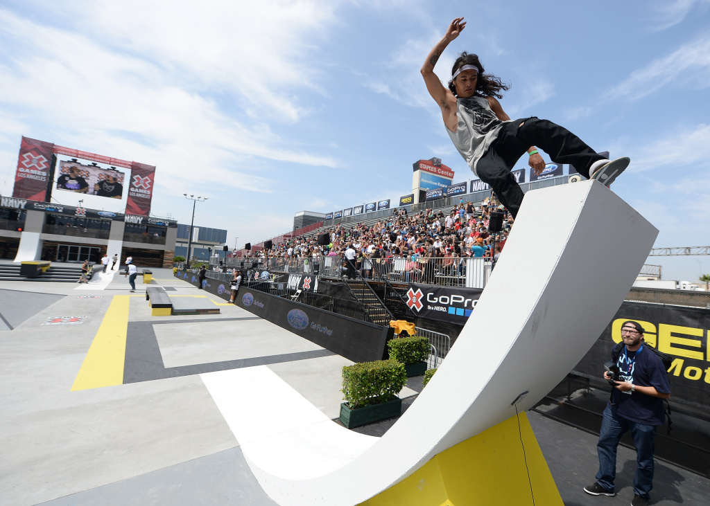 David Gonzalez of Colombia rides the ramp before the Street League Skateboarding Preliminary during X Games Los Angeles at the Event Deck at L.A. Live on August 2, 2013 in Los Angeles, California.