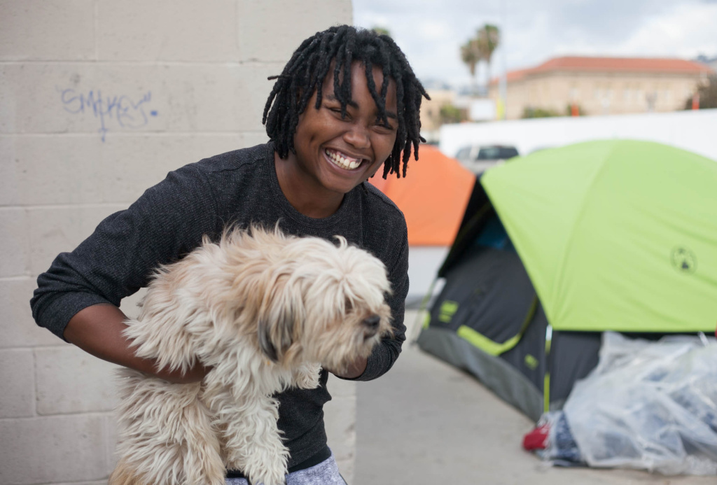 Kieysha Reedom, 25, and her dog, Marley live in Hollywood, Calif. on Friday, Mar. 16, 2018.