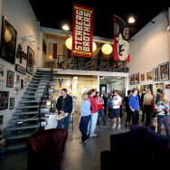 Visitors to the April 2008 Brewery Art Walk in LA take a tour of the art in artist Dave Lefner's loft
