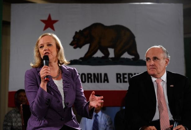 California Republican Party gubernatorial candidate Meg Whitman (L) appears at a campaign event with former New York City Mayor Rudy Giuliani on October 10, 2010 in Van Nuys, California . Giuliani is in California to campaign for Whitman.