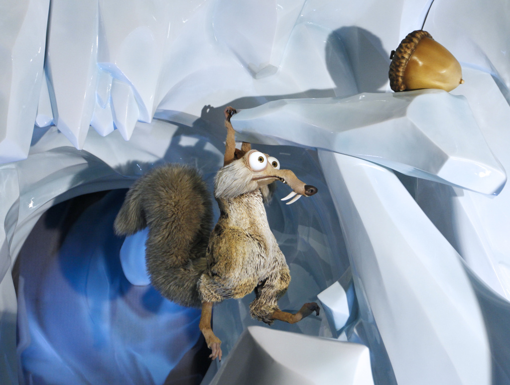 Ice Age's Scrat, the sabre-toothed squirrel, with its acorn.