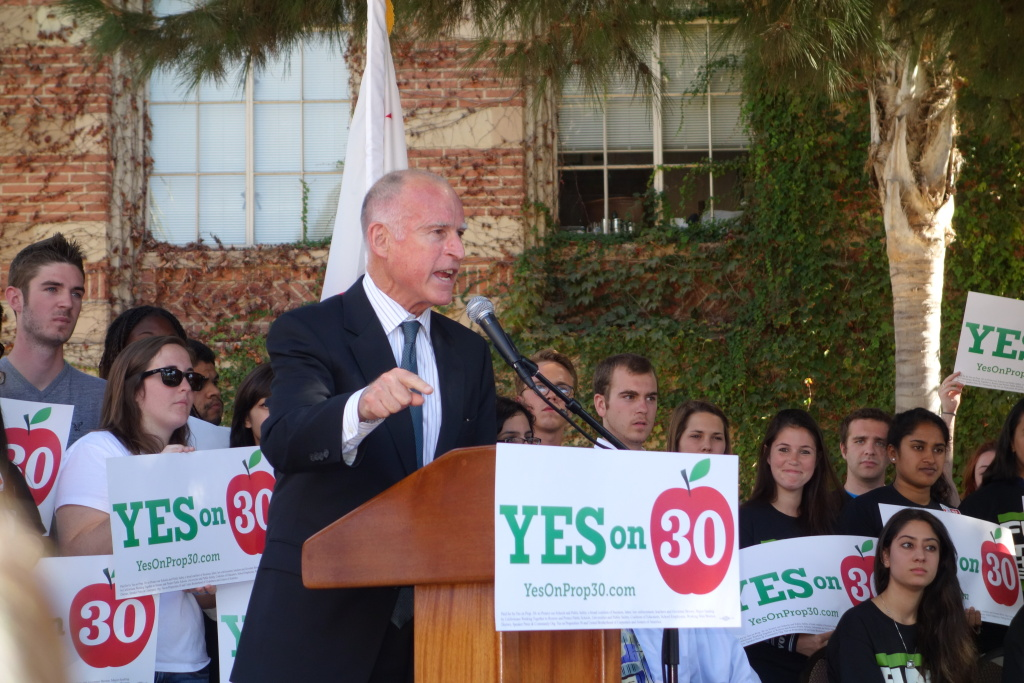 California Gov. Jerry Brown speaks in support of Prop. 30 at a rally of UCLA students on campus, Oct. 16, 2012. Fact check No. 2: The $8.5 billion brought in by Prop. 30 will go to a