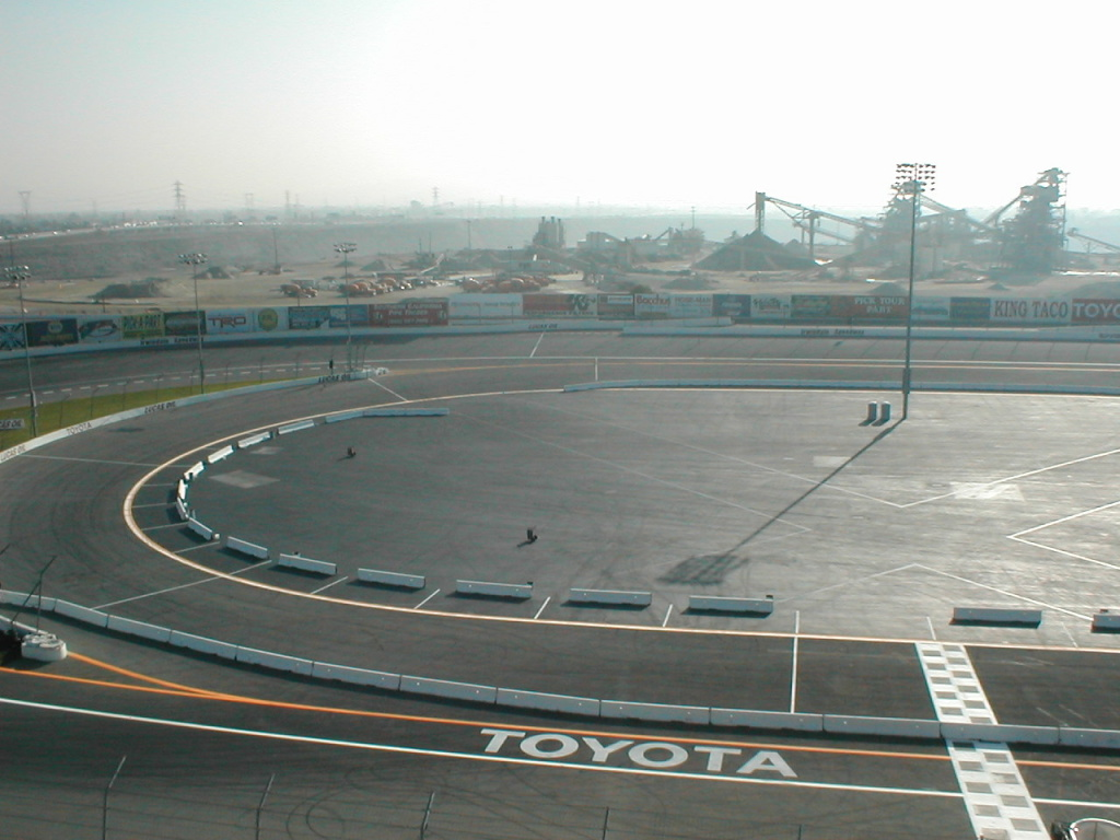 Irwindale Speedway in Irwindale, California, as photographed from the rooftop.