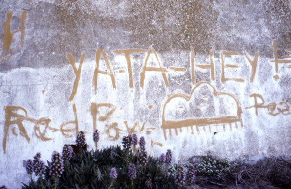 1975 image of the water tower with Native American graffiti on Alcatraz Island in San Francisco, Ca.
