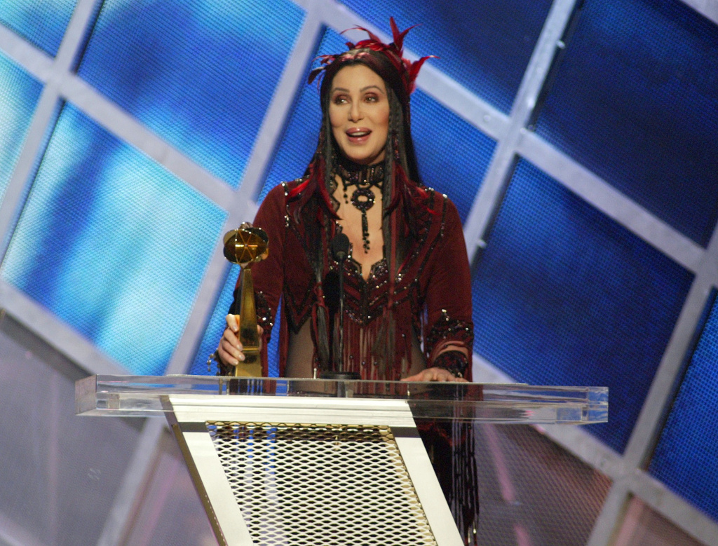 Cher at the Billboard Music Awards at MGM Grand Garden Arena in Las Vegas, Nevada in 2002. Her acceptance speech ignited controversy because of her use of the 'F-word' on broadcast television.