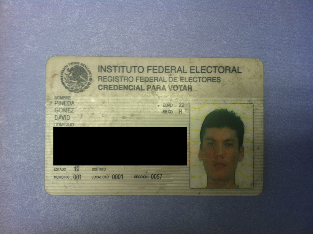 David Pineda's voter ID card. Personal information was removed.