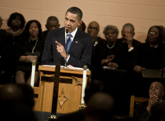 President And Mrs. Obama Attend Sunday Church Services