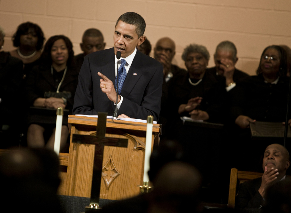 File: President Barack Obama speaks at Vermont Avenue Baptist Church January 17, 2010 in Washington, DC.  President Obama spoke during a service in honor of civil rights leader Dr. Martin Luther King Jr.