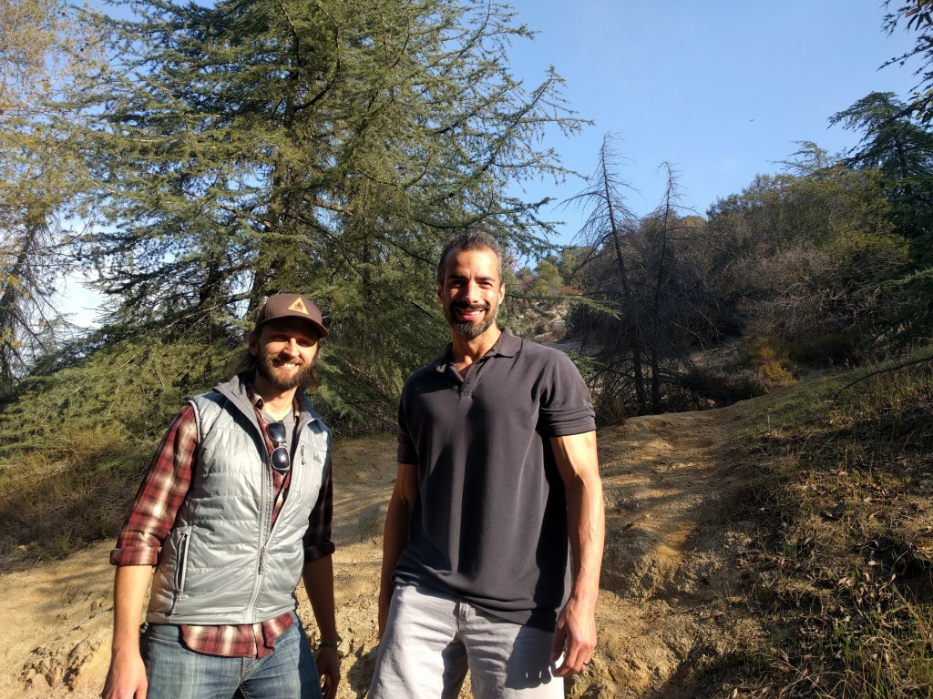 A Martinez (r) on a hike/interview in Griffith Park with Casey Schreiner, author of the book,