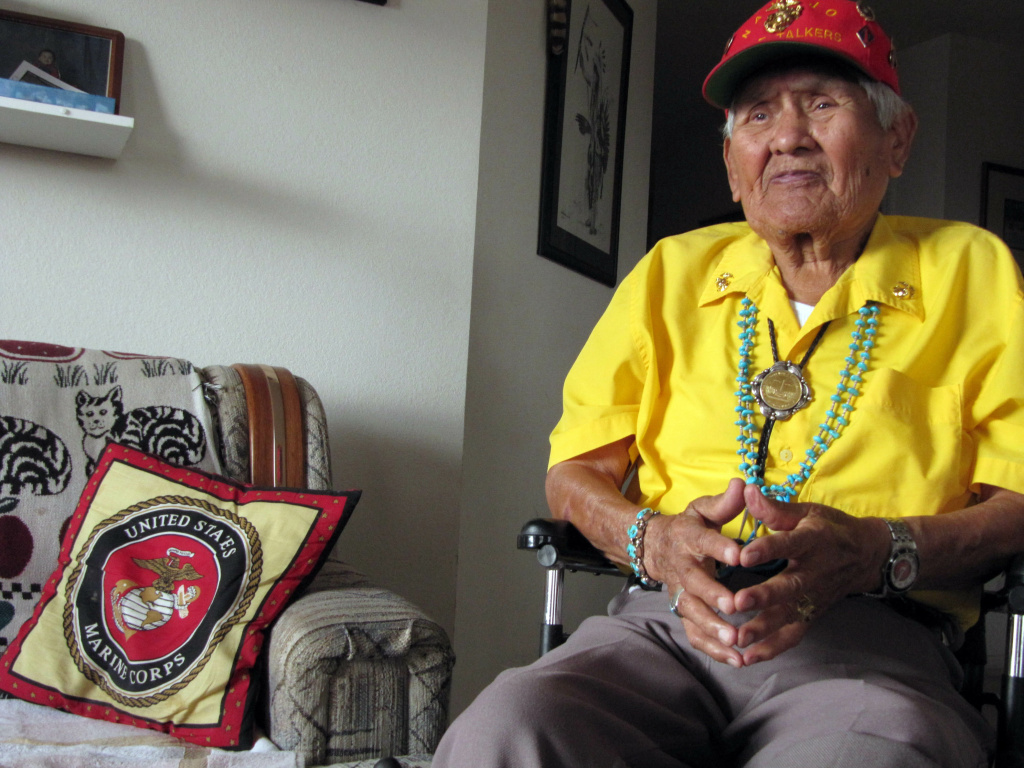 This Nov. 29, 2009 photo shows Chester Nez talking about his time as a Navajo Code Talker in World War II from his home in Albuquerque, N.M.