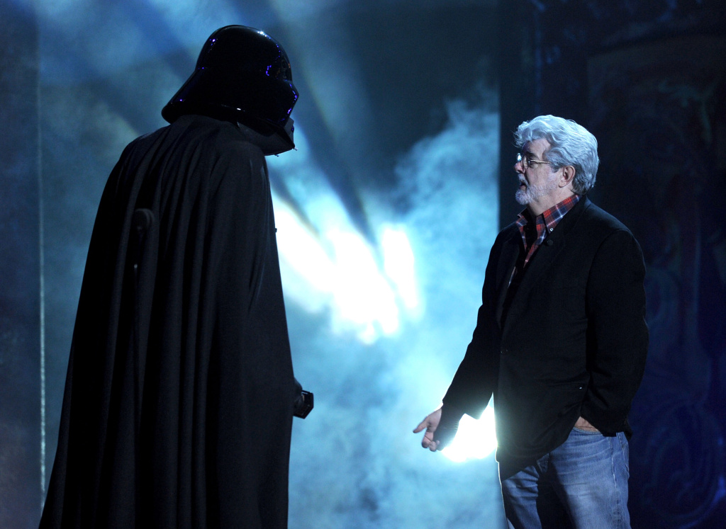 Darth Vader and George Lucas (R) onstage during Spike TV's