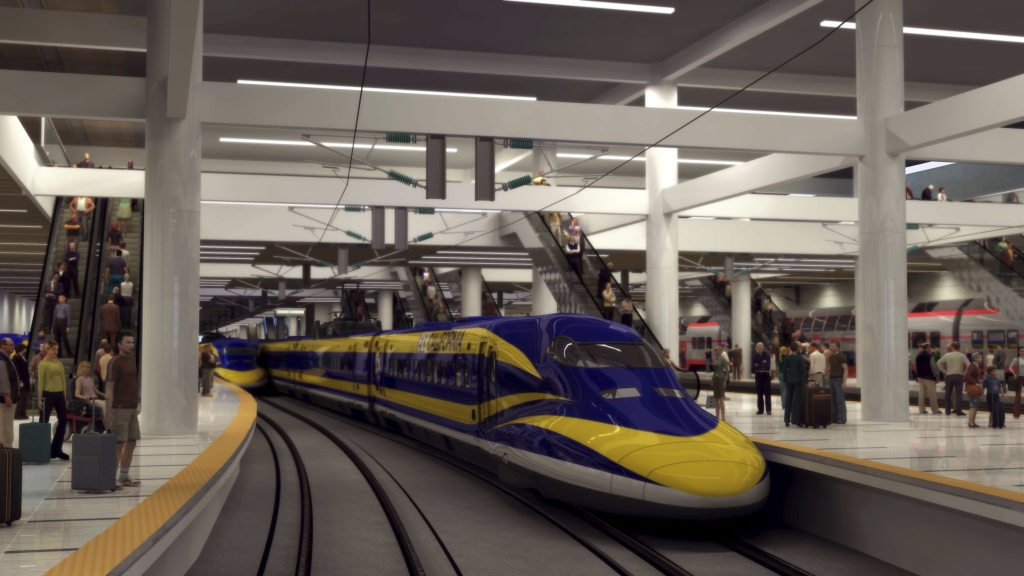 A rendering of California high-speed rail.
