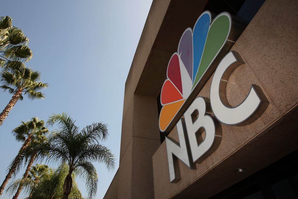 An NBC studios building sign is seen on October 20, 2008 in Burbank, California.