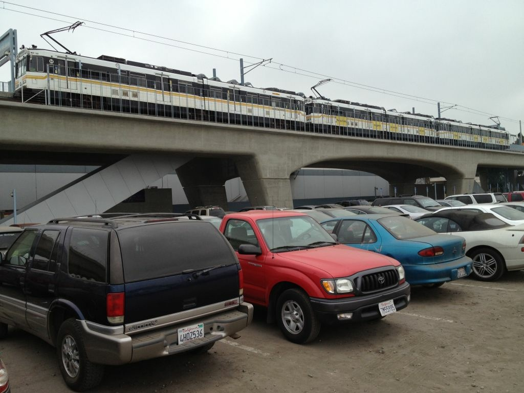 The vehicles of Metro riders parked at the Culver City Station.