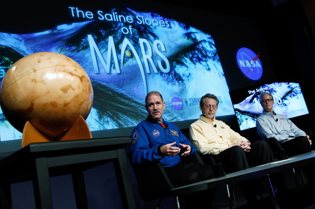 John Grunsfeld, associate administrator at NASA's Science Mission Directorate, speaks during a press conference where NASA announced new findings that provide the