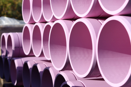 Purple pipes, Stanford University, Palo Alto, California.