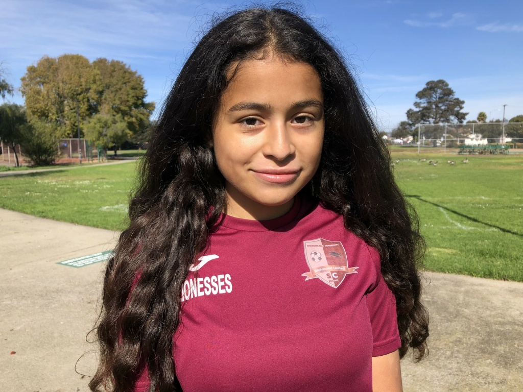 Crista Ramos, 14, stands at a park in Richmond after a soccer match on Nov. 4, 2018.