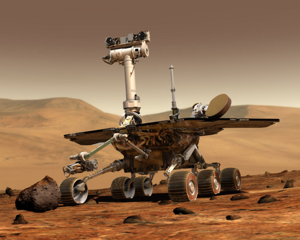 Artwork depicting the Mars Rover on Mars