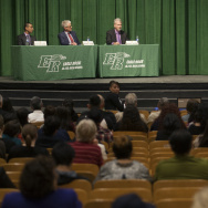 LAUSD Board of Education Running Candidates Ref Rodriguez, from left, Andrew Thomas and Bennett Kayser attend a debate at Eagle Rock High School on February 5, 2015.