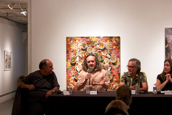 Cheech Marin with artists Einar & Jamex de la Torre and Susana Smith Bautista at Artifex at Koplin Del Rio Gallery in Culver City.
