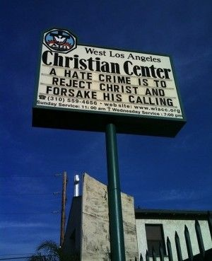 A church sign in Los Angeles, January 2010
