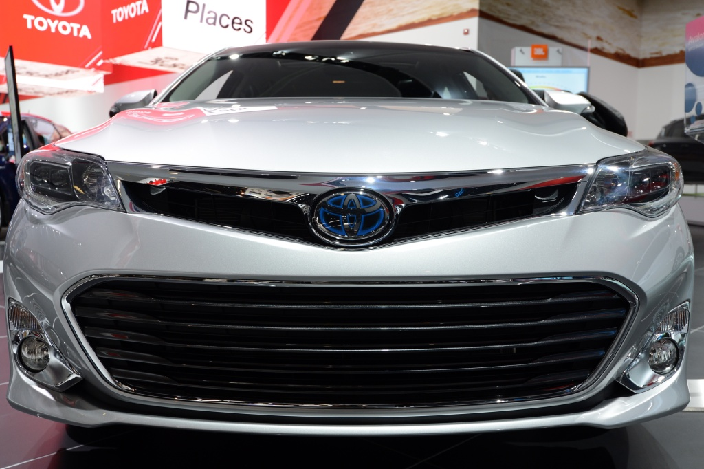 A Toyota Avalon hybrid car on display at the 2013 North American International Auto Show in Detroit, Michigan, January 15, 2013.