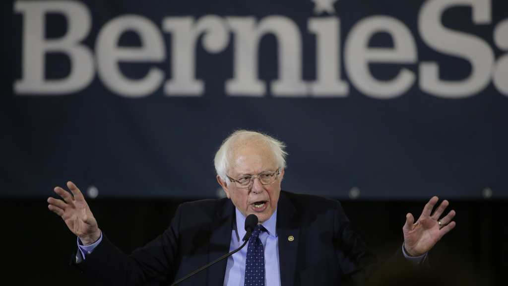 Sen. Bernie Sanders, appearing at a campaign stop in Concord, N.H., raised about $6 million in the first day of his 2020 presidential campaign, which was evidence that he's maintained strong grassroots support.