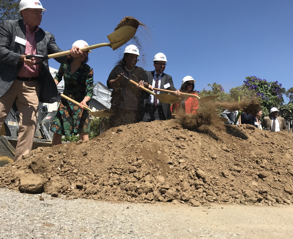 A new project meant as a model for homeless housing in L.A. broke ground (ceremonially) Thursday.