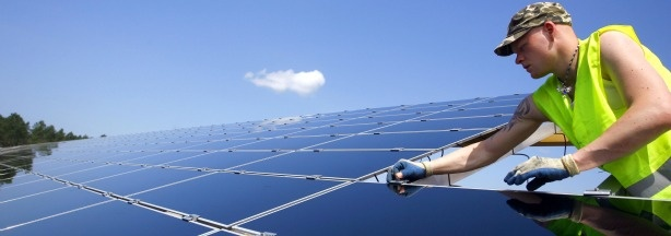 Solar Electricity provides jobs and produces CO2-free energy to the utility grid