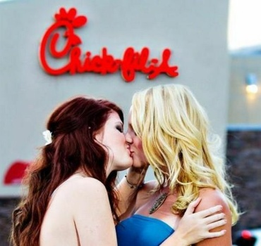 chick-fil-a protest kiss
