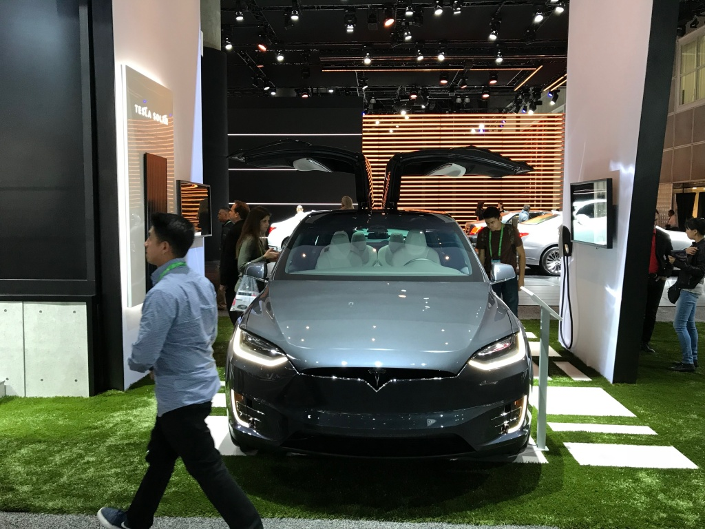 Tesla's display at the 2017 LA Auto Show.