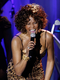 Singer Whitney Houston performs at the 2009 GRAMMY Salute To Industry Icons honoring Clive Davis at the Beverly Hilton Hotel in February 2009 in Beverly Hills, California.