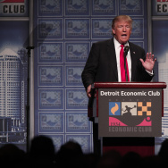 Republican presidential candidate Donald Trump delivers an economic policy address detailing his economic plan at the Detroit Economic Club August 8, 2016 in Detroit, Michigan.