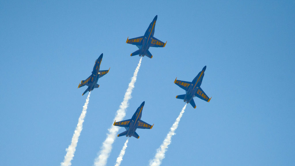 The U.S. Navy's Blue Angels soar over the Florida Keys during a March 23 air show. The group has <a href=