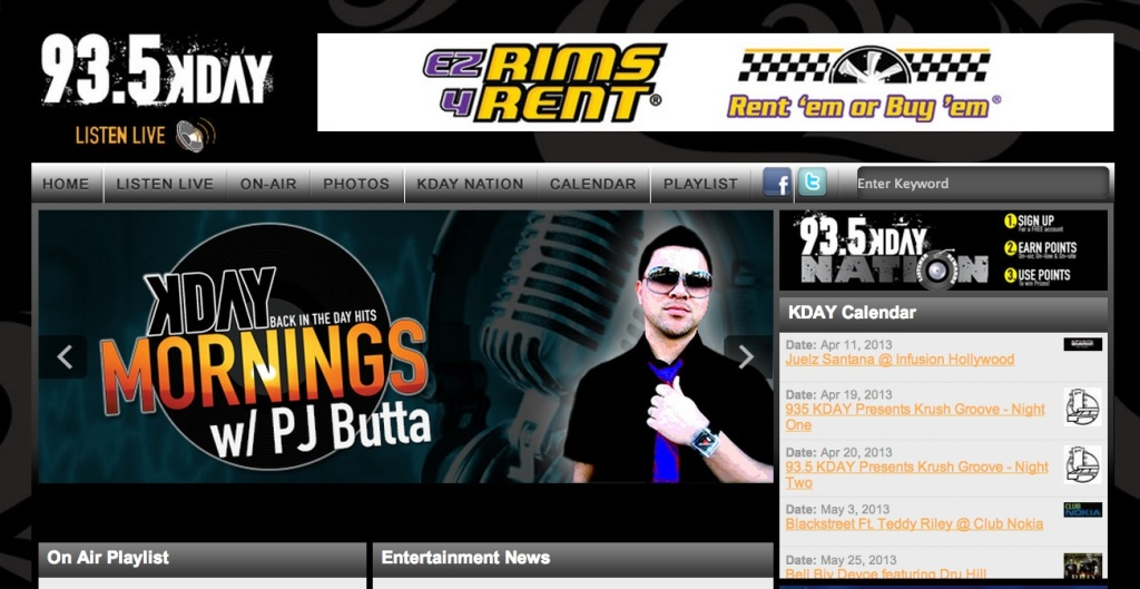A screenshot of the website for KDAY.