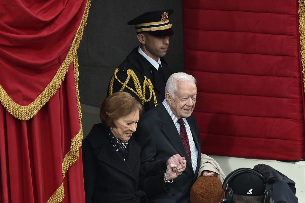 Former President Jimmy Carter and his wife Rosalynn Carter at the inauguration of President Donald Trump on Jan. 20, 2017. The two presidents spoke for the first time on Saturday about China.