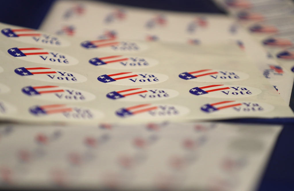Voter stickers are displayed during a demonstration of the ImageCast X ballot marking device at the Sacramento County Department of Voter Registration and Elections on March 5, 2018 in Sacramento, California.