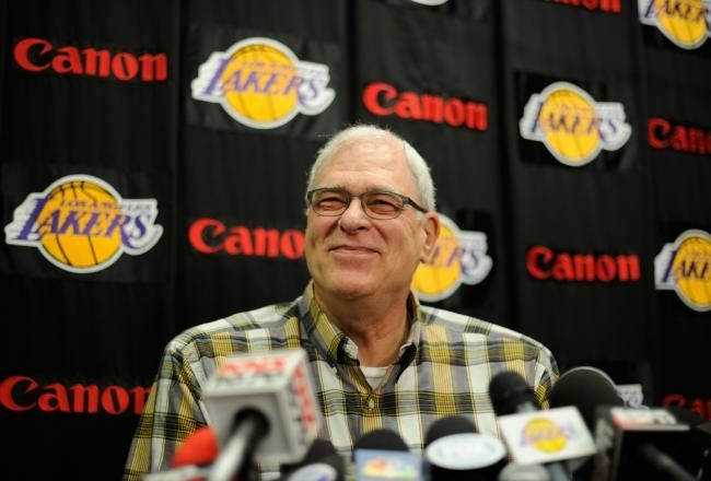 Former coach of the Los Angeles Lakers Phil Jackson during a news conference at the Lakers training facility on May 11, 2011 in El Segundo, California.