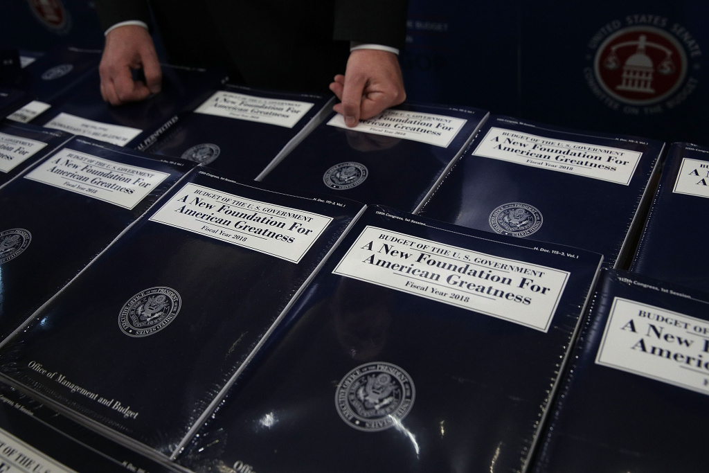 WASHINGTON, DC - MAY 23:  Stacks of President Donald Trump's FY2018 budget proposal are seen during a photo availability May 23, 2017 on Capitol Hill in Washington, DC. President Trump has sent his FY2018 budget proposal request to the Congress.  (Photo by Alex Wong/Getty Images)