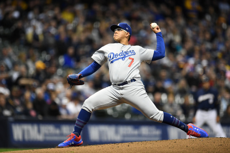 Julio Urias of the Los Angeles Dodgers throws a pitch during the first inning against the Milwaukee Brewers at Miller Park on April 18, 2019 in Milwaukee, Wisconsin.