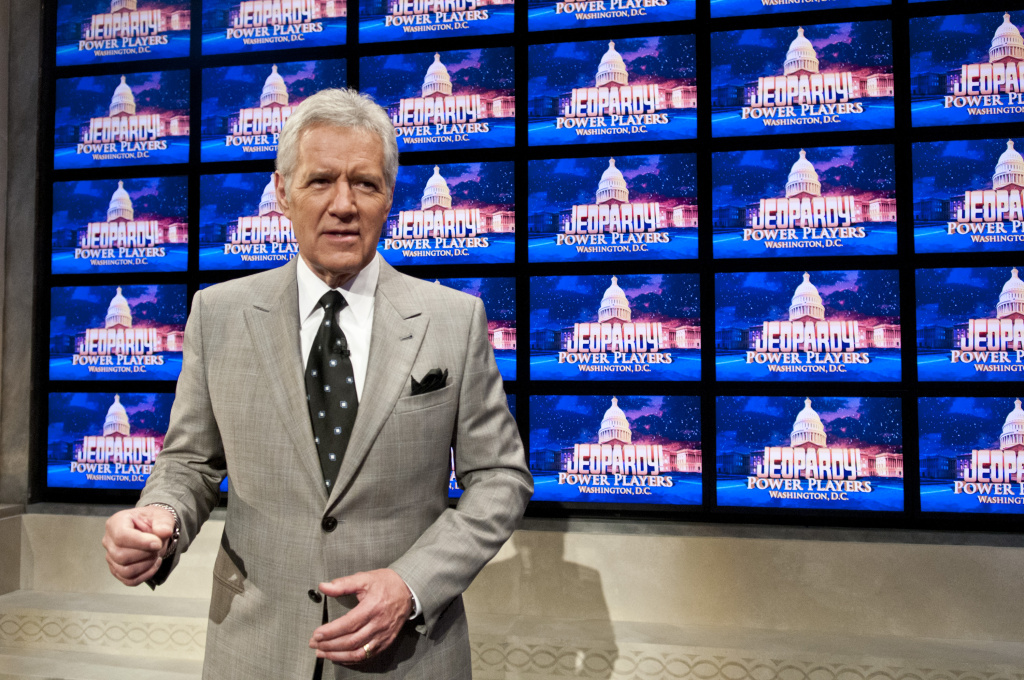 Alex Trebek speaks during a rehearsal before a taping of  Jeopardy! Power Players Week at DAR Constitution Hall on April 21, 2012 in Washington, DC.