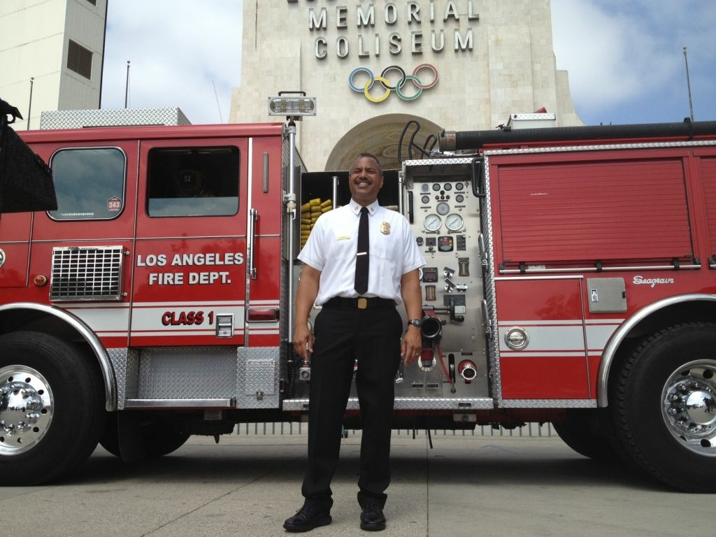 City of Los Angeles Fire Chief Brian Cummings at Los Angeles Memorial Coliseum.
