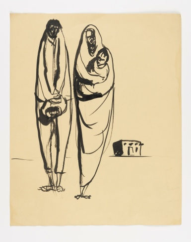 José Montoya, Untitled, date unknown. Ink on paper, 35 x 30 cm.