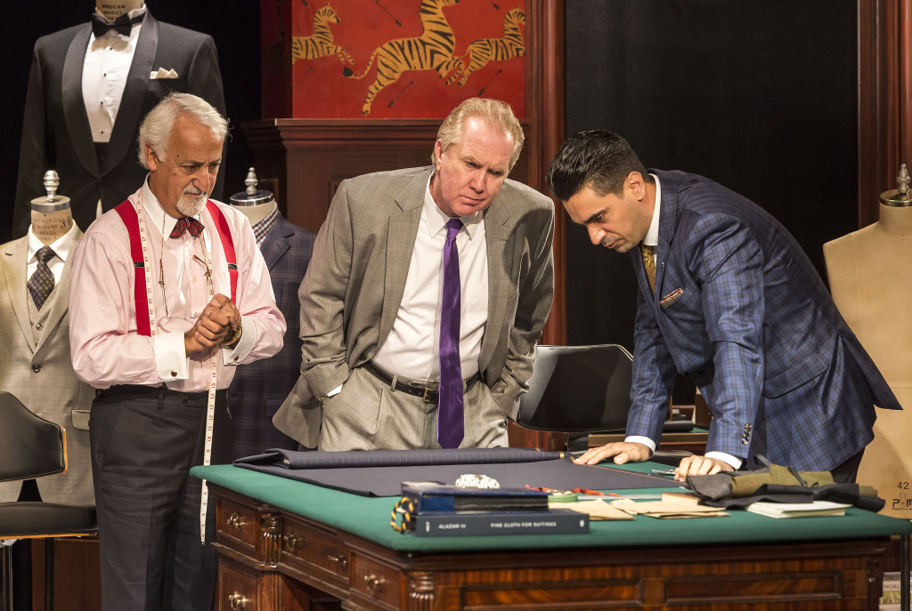 """Harry Groener, center, is a Donald Trump-like candidate who wants immigrant tailors played by Brian George, left, and Ramiz Monsef to make him a custom suit in Jon Robin Baitz's """"Vicuña"""" at the Kirk Douglas Theatre."""