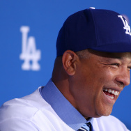 File: Dave Roberts laughs during a press conference to introduce him as the new Los Angeles Dodgers Manager at Dodger Stadium on Dec. 1, 2015 in Los Angeles.