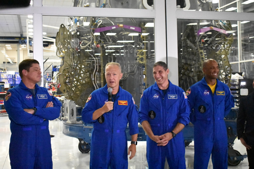 Left to right, NASA astronauts Bob Behnken, Doug Hurley, Mike Hopkins and Victor Glover will fly in the Crew Dragon for SpaceX.