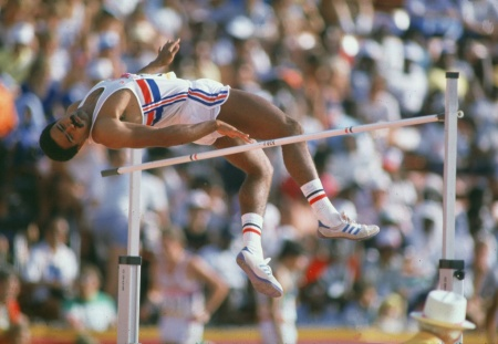 Mayor Eric Garcetti talked about the city's Olympic bid Monday. Here, Daley Thompson of Great Britain clears the bar during the high jump event of the decathlon at the 1984 Olympic Games in Los Angeles.